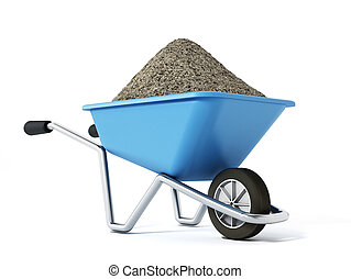 Hand barrow isolated on white background. 3D illustration
