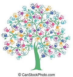 Tree with colorful handprint