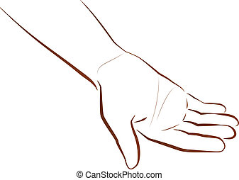 Hand Begging - Outline illustration of a hand that is...