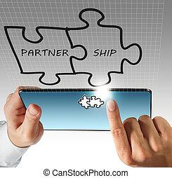 hand, beroeren, op, tablet, computer, en, vennootschap