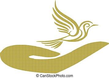 Hand, bird, symbol