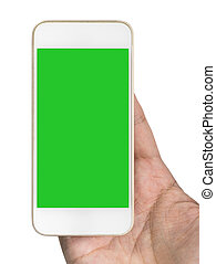 Hand Blank Smartphone screen for mock up and copy space with clipping path