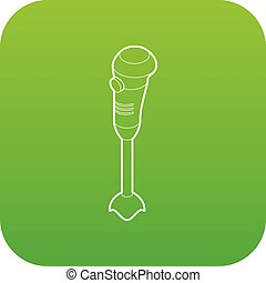 Hand blender electric mixer icon green vector