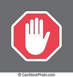 Hand blocking sign stop