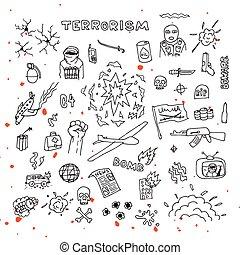 hand, blod, oavgjord, det stänker, terrorism, doodles