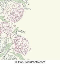 hand, bloemen, frame., peony, tekening