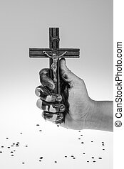 Hand, blood and cross