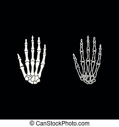 Hand bone icon set white color illustration flat style simple image