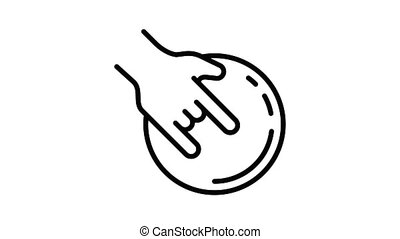 Hand bowling ball icon animation
