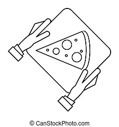 hand boy delivery box pizza outline