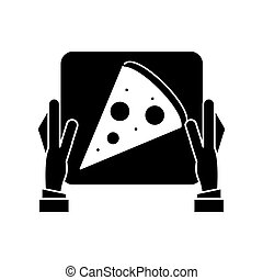 hand boy delivery box pizza pictogram