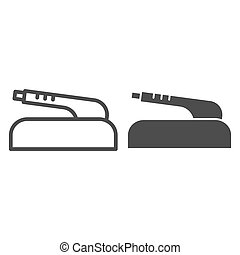 Hand brake line and glyph icon. Car part vector illustration isolated on white. Clutch brake outline style design, designed for web and app. Eps 10.