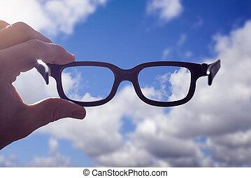 hand, brille, himmelsgewölbe