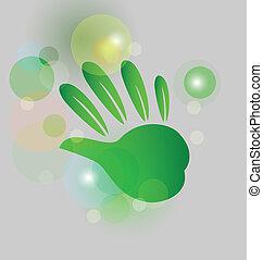 Hand bubbles bokeh logo