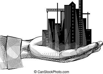 Hand Building Urban Sketch Illustration