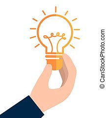 hand bulb idea creative isolated design