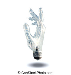 Hand bulb isolated on white