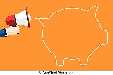 Hand Bullhorn Piggy Bank Speech Bubble