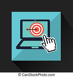 hand business growth target pointer virtual