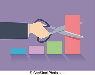 Hand Businessman Cut the Bar Illustration