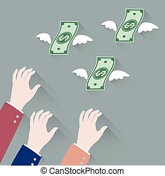 Hand businessman trying to grab Money Flying Away