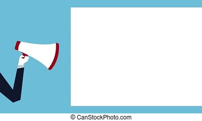 hand businessperson with megaphone animation illustration...