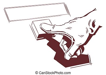 hand, button., illustration., schiebt, bestand