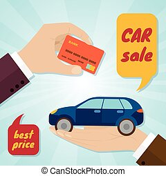 Hand buying a car with credit card. Rental or sale concept