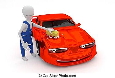 Hand car washing - washing a smiling cartoon car with a...
