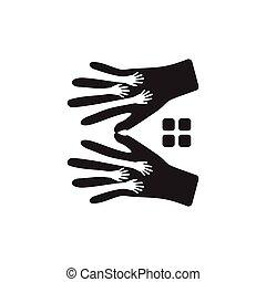 hand care home social concept logo