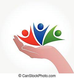 Hand care people icon logo symbol