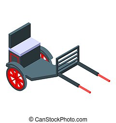 Hand carriage icon, isometric style