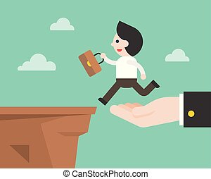 Hand carry business man to cross the cliff ,business situation concept