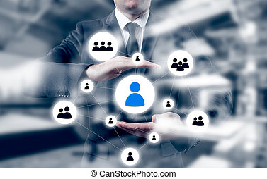 Hand carrying businessman icon network - HR,HRM, MLM, teamwork and leadership concept.