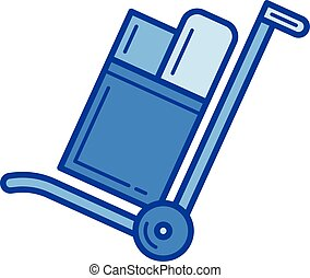 Hand cart line icon. - Hand cart vector line icon isolated...