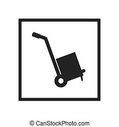 hand cart sign - hand cart with a box sign. shipping and...