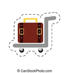 hand cart suitcase hotel vector illustration eps 10