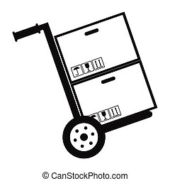 Hand cart with cardboard boxes black simple icon