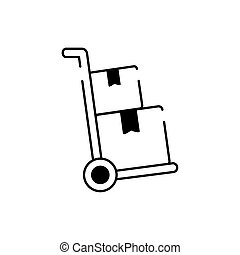 hand cart with cardboard boxes cargo delivery line style icon