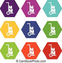 Hand cart with cardboards icon set color hexahedron - Hand...