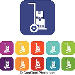 Hand cart with cardboards icons set vector illustration in...