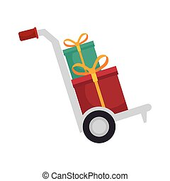 hand cart with gift boxes presents with yellow ribbon....