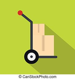 Hand cart with two cardboard boxes icon flat style