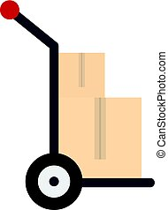Hand cart with two cardboard boxes icon isolated