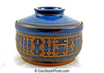 Hand Carved Blue Pottery Pot