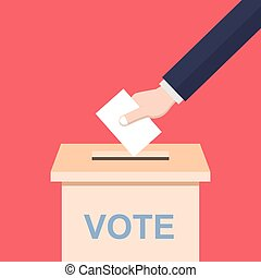 Hand casting a vote - Illustration of a hand casting a vote