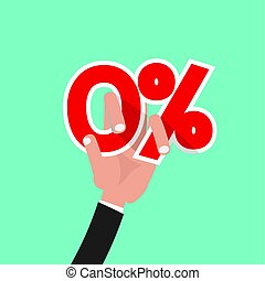Hand Catch A Zero Percent Interest Symbol Vector Illustration