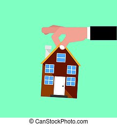 Hand Catch Home Real Estate Buying Conceptual Vector Illustration