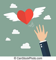 Hand catching a heart flying. Flat style design