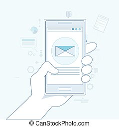 Hand Cell Smart Phone Envelope Send Business Mail